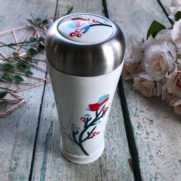 Davids tea berries bird travel mug ceramic red